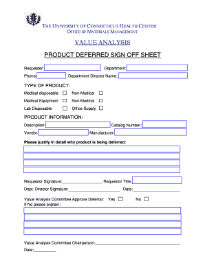 PRODUCT DEFERRED SIGN OFF SHEET