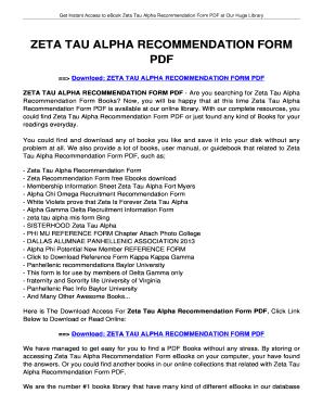 Fillable Online jansbooks ZETA TAU ALPHA RECOMMENDATION bFORMb PDF ...
