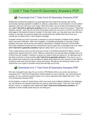 Fillable Online kravers Unit 7 Test Form B Geometry Answers