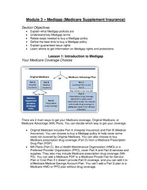 Fillable Online oregon Module 3 bMedigapb bMedicare