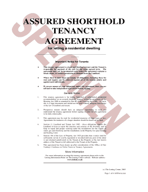 Assured Shorthold Tenancy Agreement For Letting A Residential