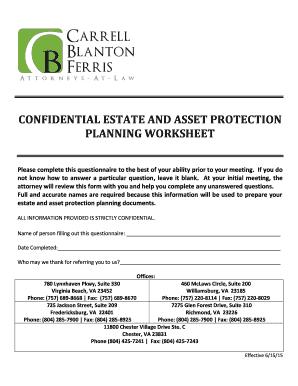 Estate planning worksheet answers