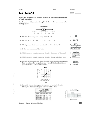 Fillable Online Score Test Form 3a Ms Hoovers 6th Grade Math Class