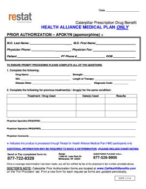 Fillable Online Apokyn Apomorphine Prior Authorization Form