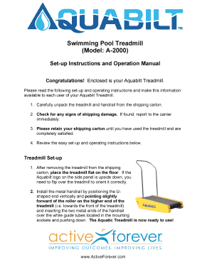 Fillable Online Aquabilt Aquatic Treadmill Instruction Manual Activeforever Fax Email Print