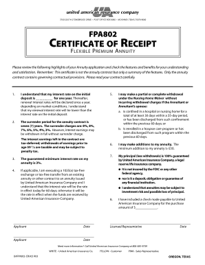 Fillable Online CertiFiCAte oF reCeiPt - United American ...