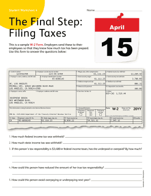 Worksheet 4 The Final Step Filing Taxes Fill Online
