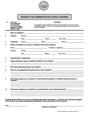 Fillable Online Appeal Form - Administrative Citation - City of ...