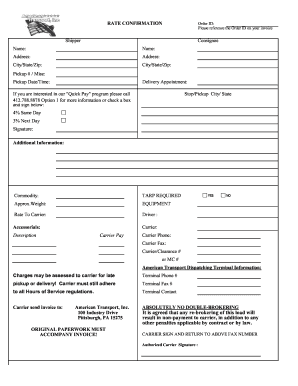 rate sheets templates - rate confirmation fill online printable fillable