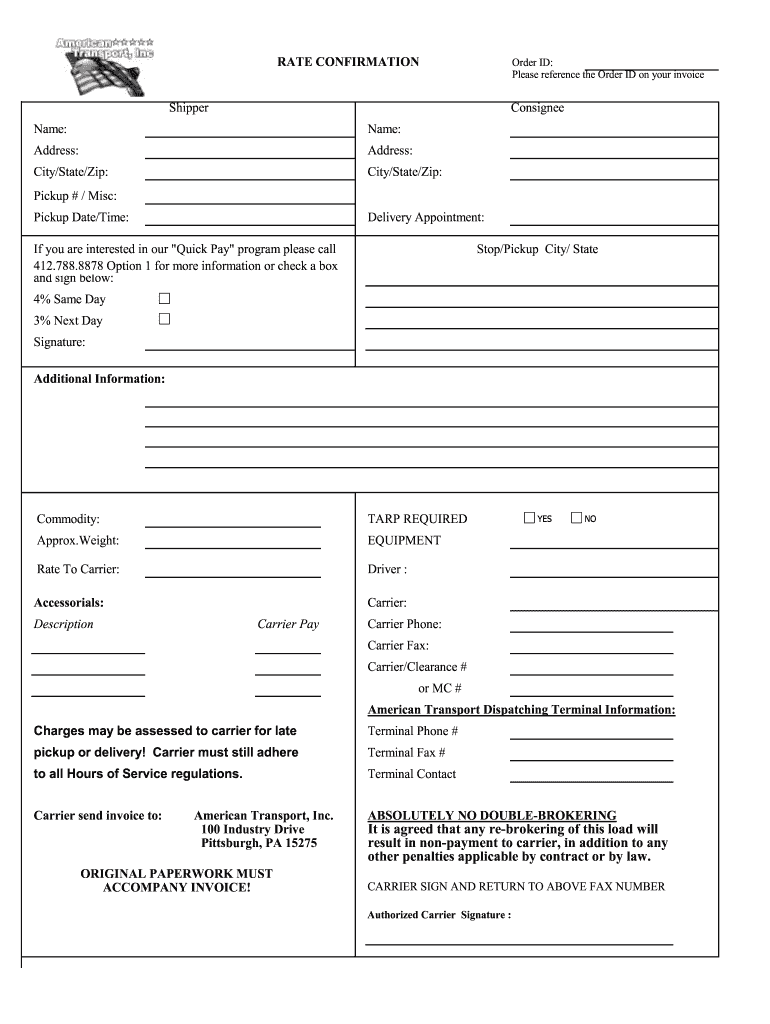 Rate Confirmation - Fill Online, Printable, Fillable, Blank