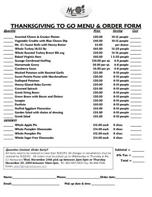 THANKSGIVING TO GO MENU & ORDER FORM