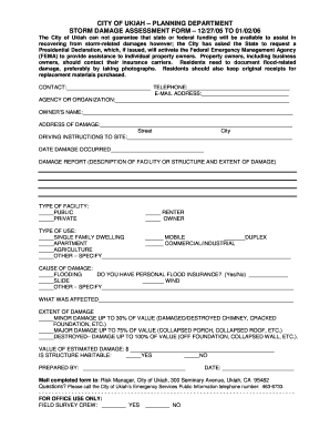 Fillable Online Planning department storm damage assessment form ...