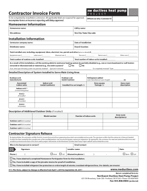 contracters invoices form