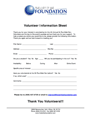 Volunteer Information Sheet Thank You Volunteers!!! - The Let It Be ...