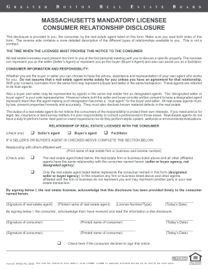mass mandatory licensee consumer relationship disclosure real estate form