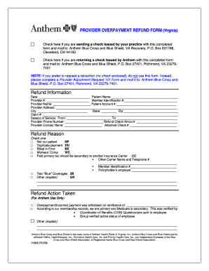 Anthem Refund Form - Fill Online, Printable, Fillable ...