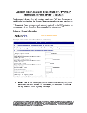 anthem provider maintenance form Fillable Online Anthem Blue Cross and Blue Shield MO Provider ...