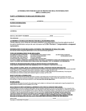 Printable hipaa compliant authorization form california - Edit, Fill
