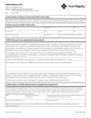 Dependents must complete this form to authorize the release of protected health information to the account holder