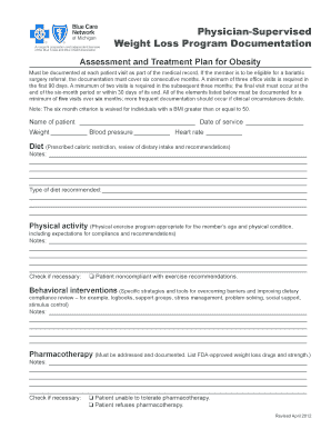 Fillable Online Physician Supervised Weight Loss Program Documentation Form Fax Email Print
