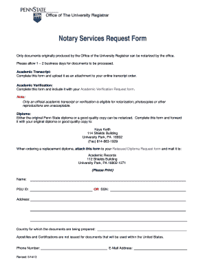 Fillable Online registrar psu Notary Services Request Form ...