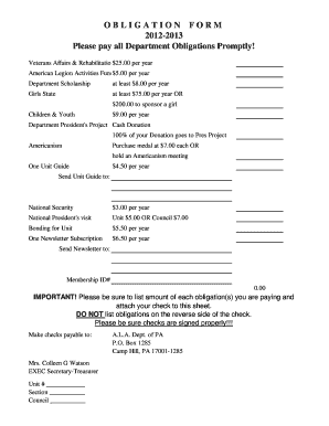Fillable Online 2012-2013 Obligation Form - PA Legion Auxiliary ...