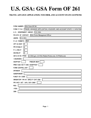 fillable online gsa form of 261 usa federal forms com fax email