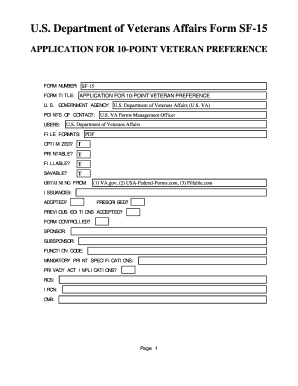 Fillable Online U.S. Department of Veterans Affairs Form SF-15 ...
