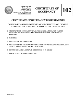 certificate of occupancy escondido ca form