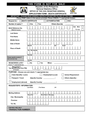Sample Blank Death Certificate Philippines Fill Online Printable