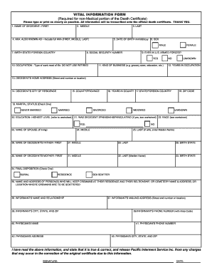 VITAL INFORMATION FORM (Required for non ... - Pacific Interment