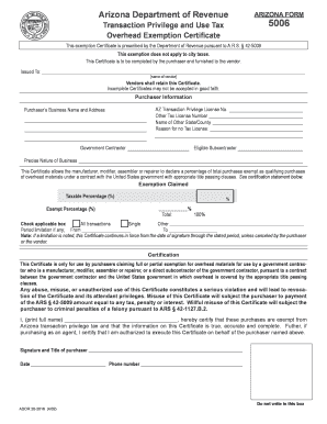 Download Arizona Exemption Certificate Form 5006 - TaxRates.com