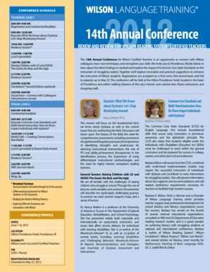 Conference agenda and registration info - Wilson Language Training