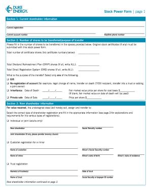 Duke Energy Stock Power Form - Fill Online, Printable, Fillable ...