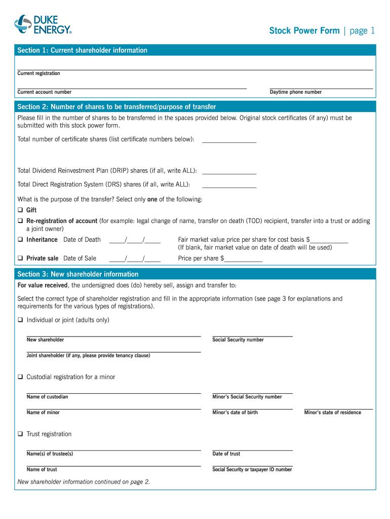 Duke Energy Stock Power Form - Fill Online, Printable