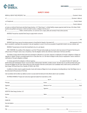 Fillable online example surety bond agreement duke energy fax rate this form platinumwayz