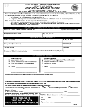 how to fill out a mvd confidential record release form