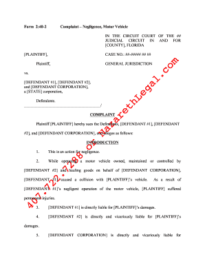 Great Florida Form Complaint Negligence Motor Vehicle