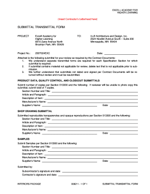Fillable Online 006211 Submittal Transmittal Form - Christenson ...