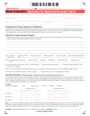 Fillable Online Mass. Form CA-6 Application for Abatement/Amended ...