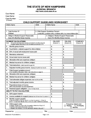 Bill Of Sale Form New Hampshire Child Support Guidelines Worksheet