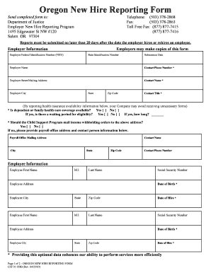 oregon new hire reporting Fillable Online Oregon New Hire Reporting Form (CSF 010580 ...