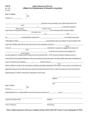 ad19 reinstatement affidavit form