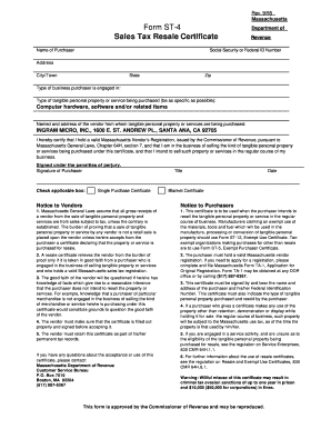 Fillable Online Form ST-4 Sales Tax Resale Certificate - Ingram ...