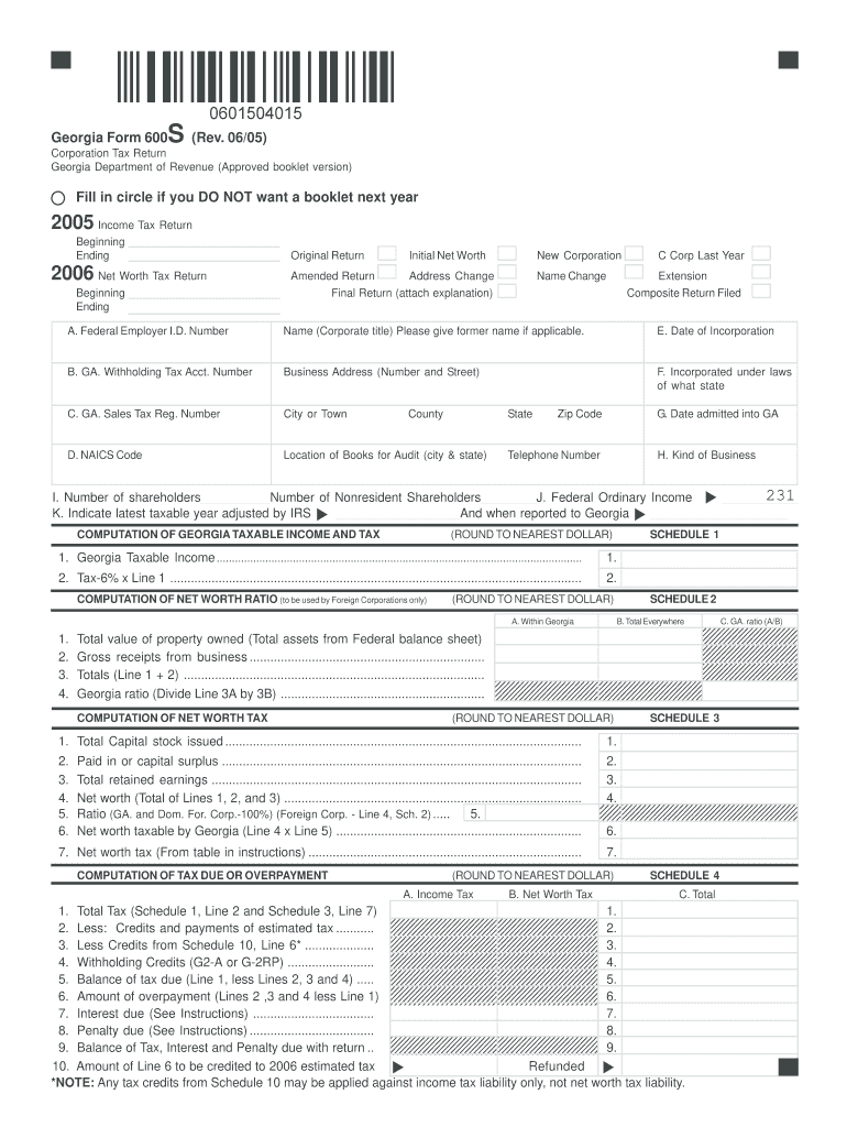 Form 600s Ga - Fill Online, Printable, Fillable, Blank