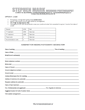 Agreement for wedding photography / booking form - Online Picture ...