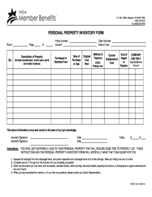 personal financial inventory form