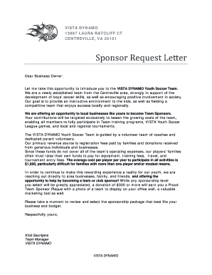 A Letter For Soccer Team Sponsorship Form