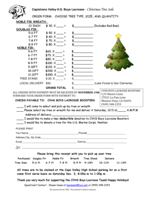 Capistrano Valley HS Boys Lacrosse - Christmas Tree Sale ORDER ...
