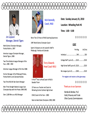 softball brochure templates form
